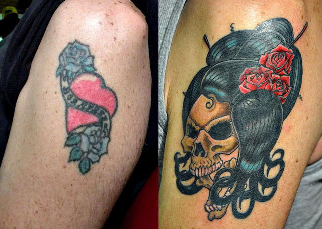 Skull covers heart for Tattoo cover sleeve target